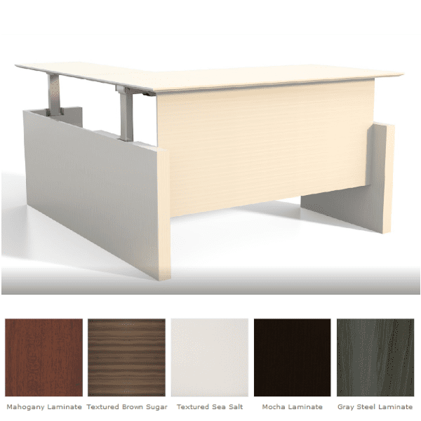 Medina™ Height-Adjustable Straight Front Desk & Return - Textured Sea Salt Finish - 5 Finish Colors