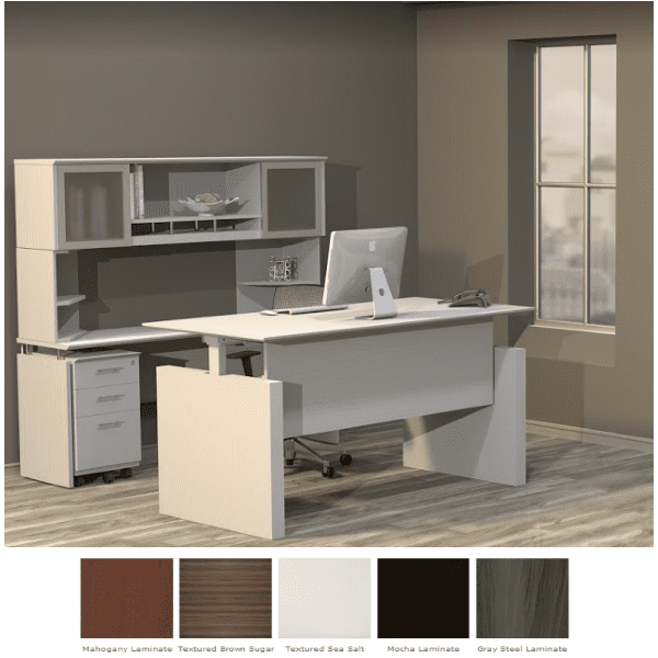 Medina™ Height-Adjustable Straight Front Desk Vignette - Textured Sea Salt - 5 Finish Colors