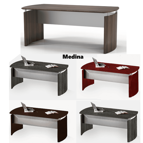 Medina Modern Curved Desk - 5 Finish Colors