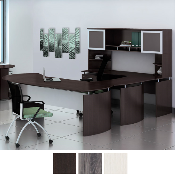 Medina Curved U Desk with Two Frosted Glass Doors and Center Compartment