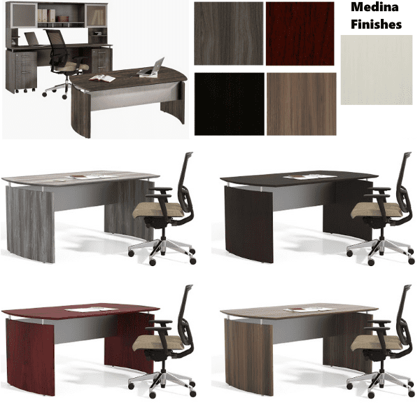 Medina Executive Desk Set in 5 Color Finishes