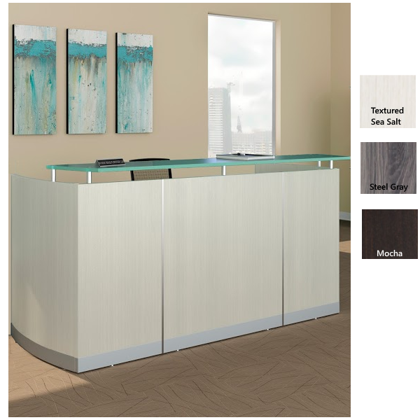 White Reception Desk with Glass Top