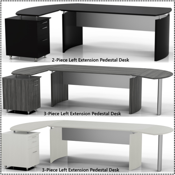 Medina Series Modular Desks with Pedestal and Post Leg Returns