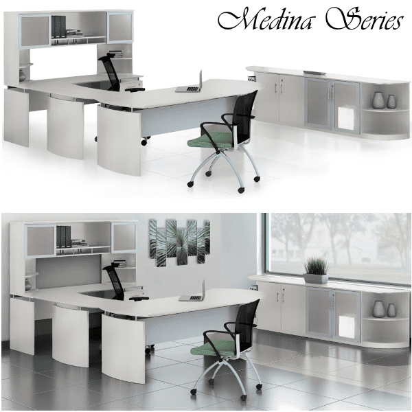Medina U-Shaped Desk with Storage Glass Door Hutch and Storage Cabinet - Textured Sea Salt - 5 Colors