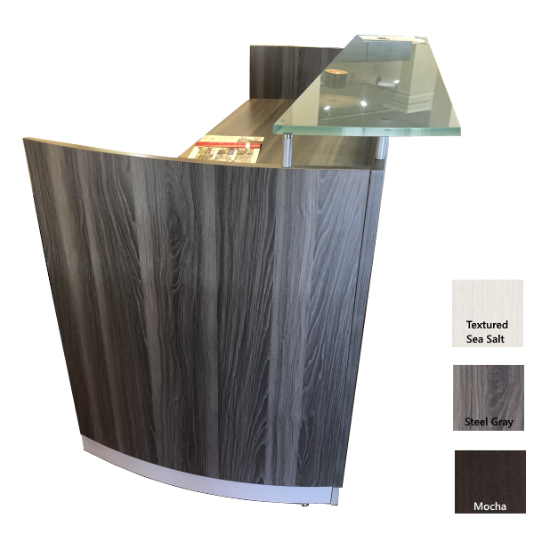Medina Reception Desk with Curved End Panel - Steel Gray FInish
