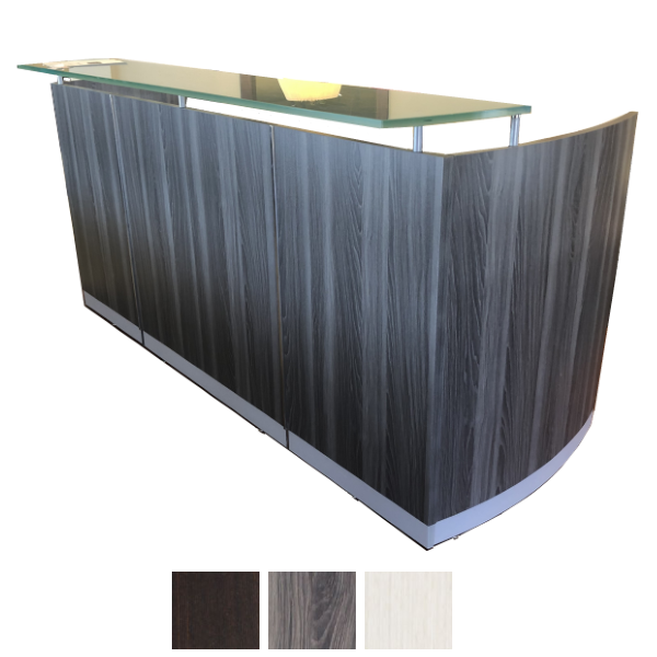 Medina MNRS Reception Desk Shell with Glass Countertop - Steel Gray