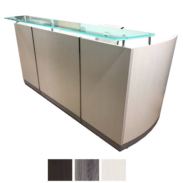 Off White Reception Desk with Elevated Glass Counter