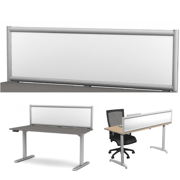 Terrace Frosted Acrylic Panel Desk Divider - 8 Widths - 4 Heights
