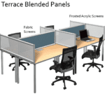 Terrace Frosted Acrylic Panel with Fabric Panels - Blend