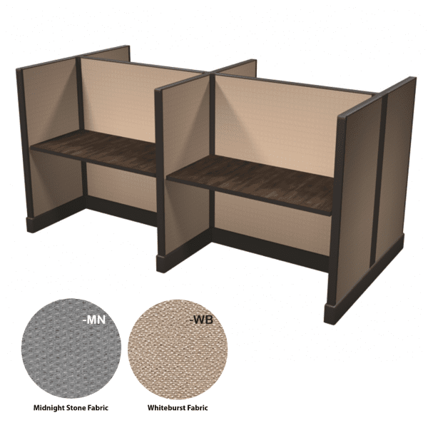 Ultra 2 Herman Miller Clone OEM Cubicles 2x2 4-Pack Layout of 48 Inch Call Stations - Whiteburst Fabric - Herman Miller Dark Tone Finish
