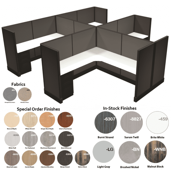 Ultra 2 Cubicles 4 Pack with Midnight Stone Fabric Panels - Curvilinear Surfaces - 21 Finish Colors - 2 Fabrics - Dark Tone Herman Miller