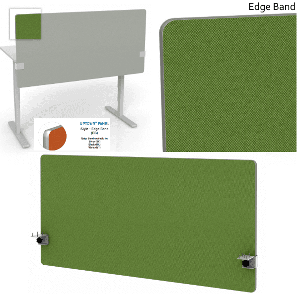 Uptown Height Adjustable Fabric Panel with Edge Band Trim in 3 Colors - Edge Band Option