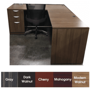5 Feet Express L Shape Desk in Modern Walnut