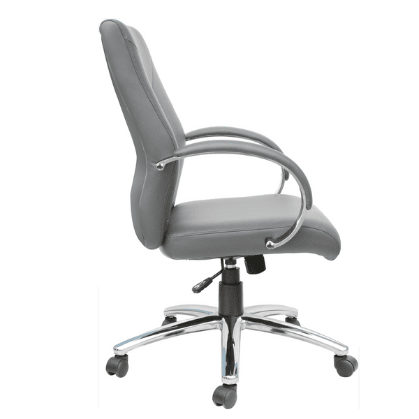 AQ-871 Soft Gray Management Chair with Swivel Lock - Side