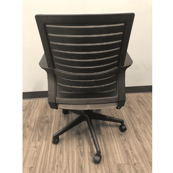 Gray Mesh Chair with Gray Fabric Seat - Rear