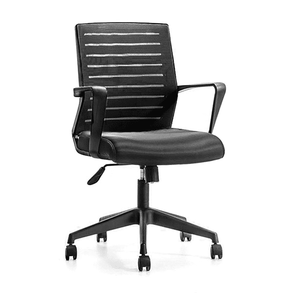 Budget Black Mesh Chair with Black Fabric Seat