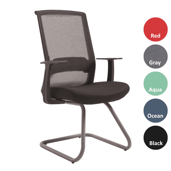 Mia Black Mesh Sled Base Guest Chair with Black Fabric