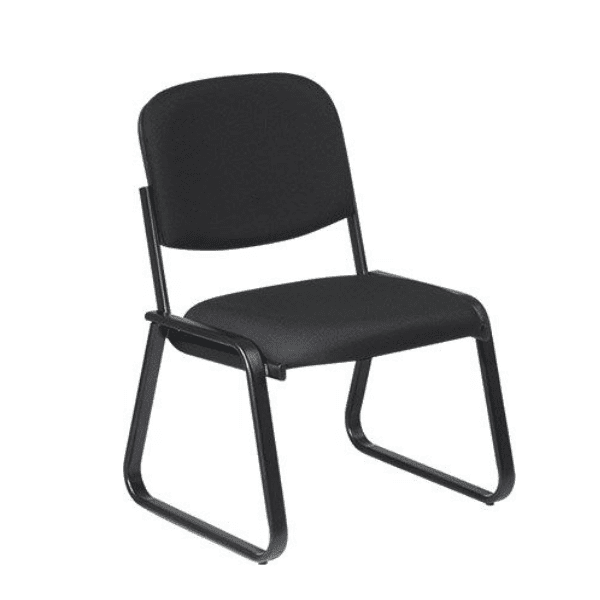 ES-5530 Sled Base Armless Guest Chair - Grade A Black Fabric - Available in 100+ Upholstery Choices