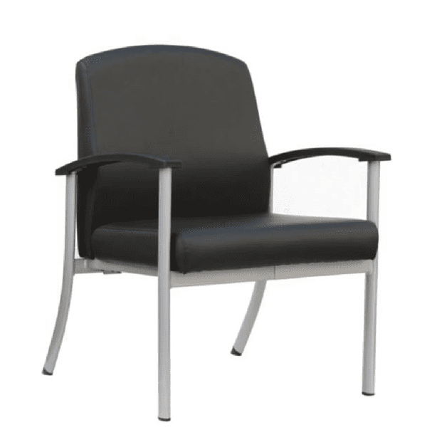 ET-6002-BK Mid Back Bariatric Guest Chair in Black Vinyl