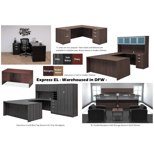 Express EL Laminate Desks and Casegoods Line of Stocked Desks Tables Chairs Files - 5 Finish Colors in Series