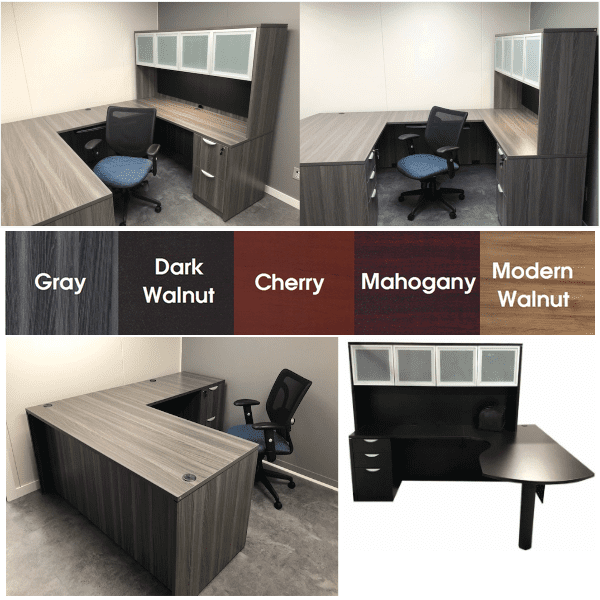 Express EL Laminate Desks and Casegoods in Gray and Dark Walnut - 5 Finish Colors in Series