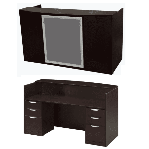 Express EL Laminate Reception Desk with Glass Trim Option with Mounting Posts Approach and interior view - Dark Walnut - 5 Colors