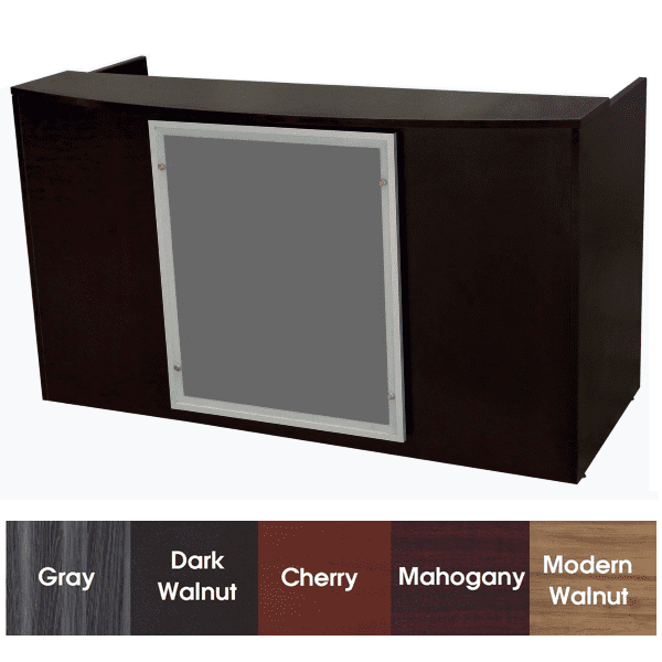 Express EL Laminate Reception Desk with Glass Trim Option with Mounting Posts - Dark Walnut - 5 Colors