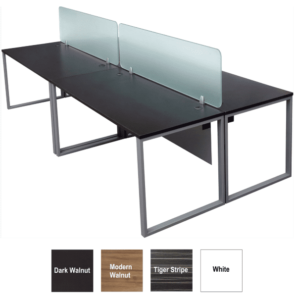 Express Lair 2x2 4 Person Workstation Benching with 18 Inch Glass Screens + Modesty Panel Under Surface