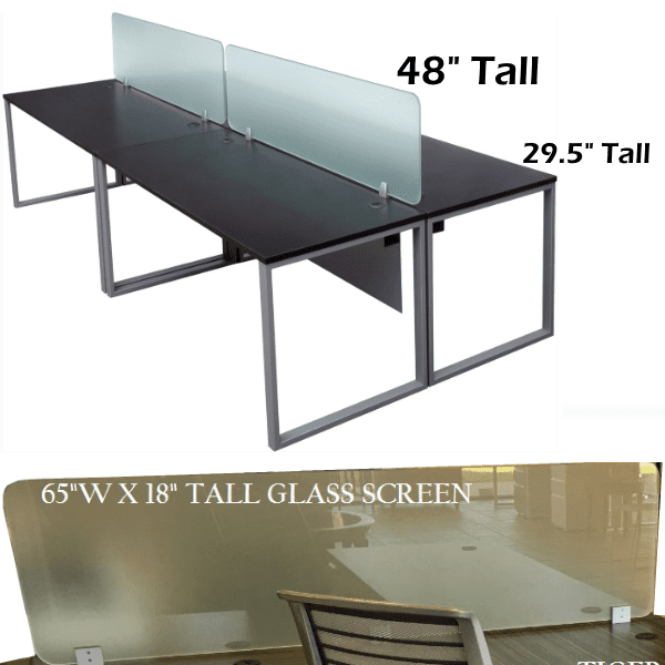 Express Lair 4-Person 2x2 Shared Workstation Benching with 18 Inch Glass Screens + Modesty Panel Under Surface - Glass Surfaces