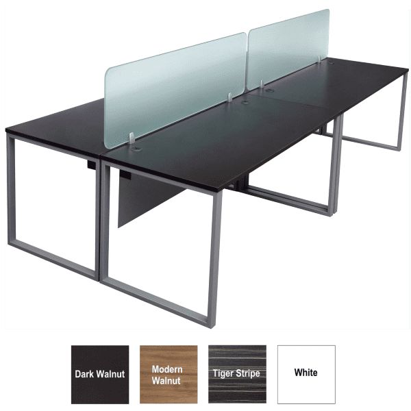 Express Lair 2x2 Shared Workstation Benching with 18 Inch Glass Screens + Modesty Panels Under Surfaces