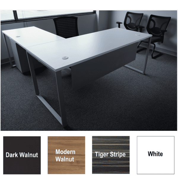 Express Lair L-Shaped Benching Workstation with Front Modesty