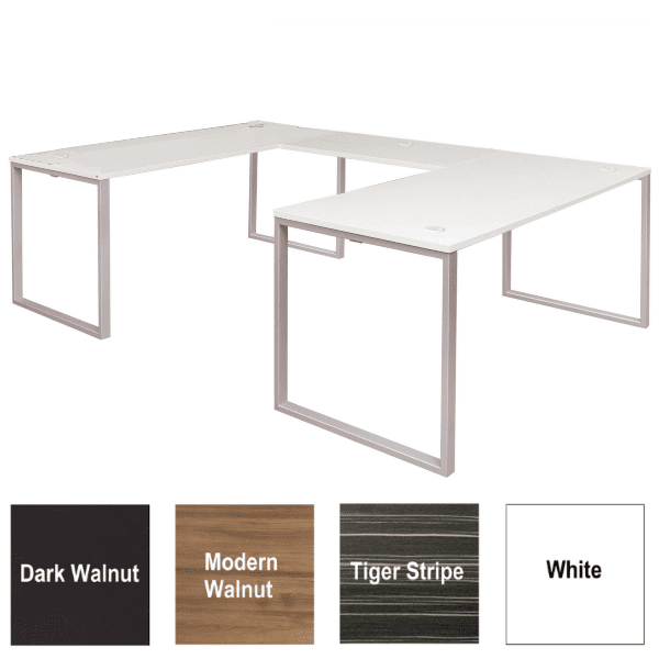 Express Lair Open U-Shaped Desk - Left Handed Return - White - 4 Colors