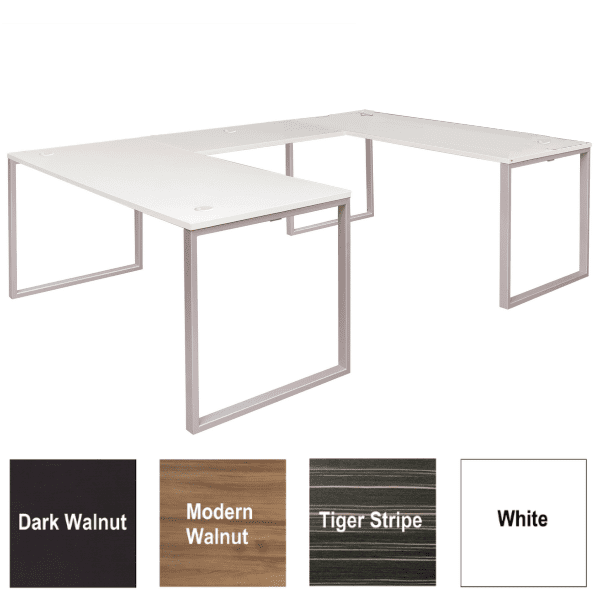 Express Lair Open U-Shaped Desk - Right Handed Return - White - 4 Colors