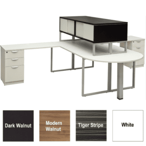 Express Lair Two Person Desk Set with Median Bullet Shape Desk