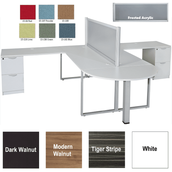 Express Lair Two Person Desk Set with Median Bullet Shape Desk with Surface Mounted Screen - All White Finish - Available in 4 Colors - Dividers in 6 Fabrics or Frosted Acrylic