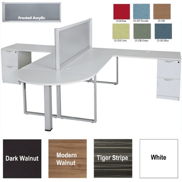 Express Lair Two Person Desk Set with Median Bullet Shape Desk with Surface Mounted Screen in 6 Fabrics or Frosted Acrylic