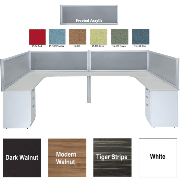 Express Lair Two Person Team Workstation with Curved Interior Surfaces with 3-Drawer Box Box File Storage Pedestal Ends & Perimeter Screens - 6 Fabric Colors + Frosted Acrylic