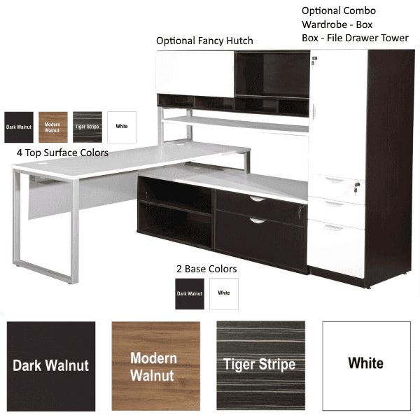 Finishes Available in Lair Series - Desk 4 Finish Tops - Benching 2 Colors