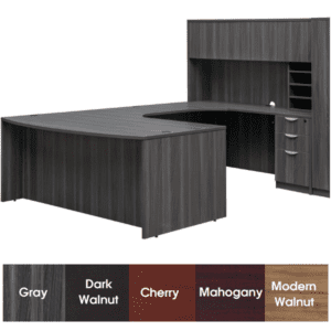 Express Laminate Bow Front U-Shaped Desk with Curved Bridge in One Size - Modern Walnut Finish - 5 Colors Stocked - Left Handed - Laminate Door Hutch