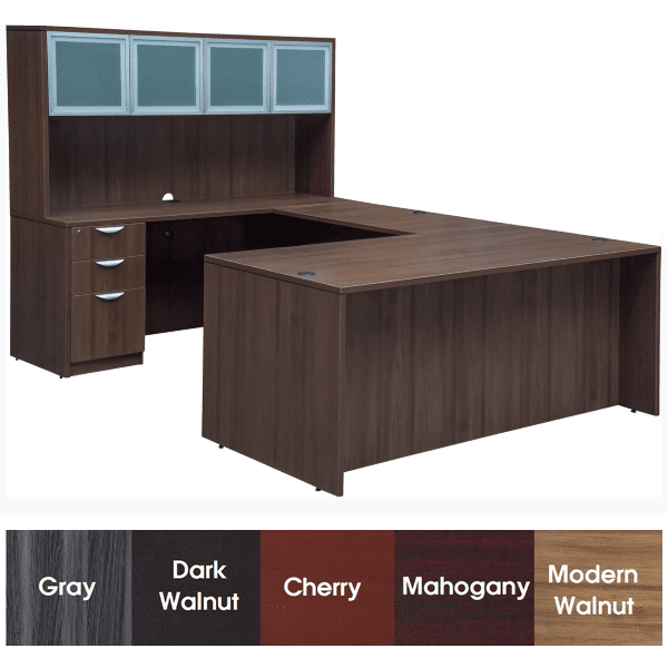 Express Laminate Rectangular Front U-Shaped Desk - Modern Walnut Finish - 5 Colors Stocked - Left Handed - Glass Door Hutch