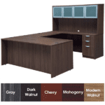 Express Laminate Rectangular Front U-Shaped Desk - Modern Walnut Finish - 5 Colors Stocked - Right Handed - Glass Door Hutch Storage