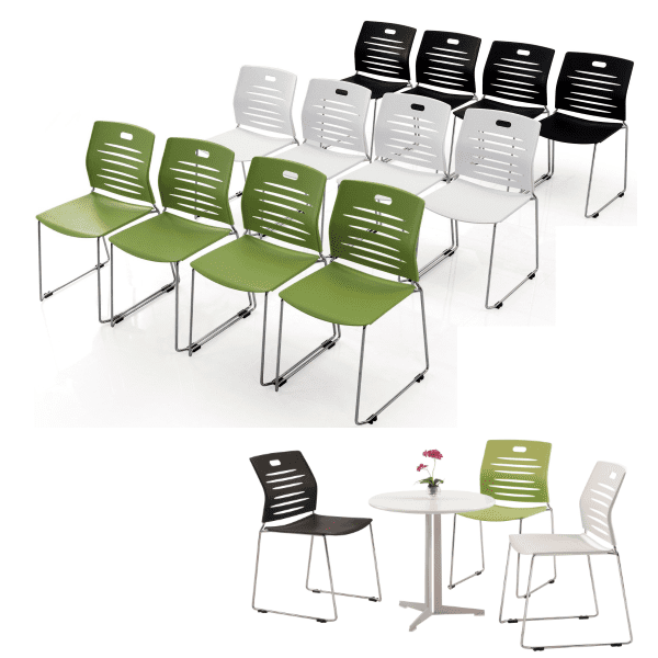 GW Stacking Chair Group - 3 Colors - Black Green White - Round Table