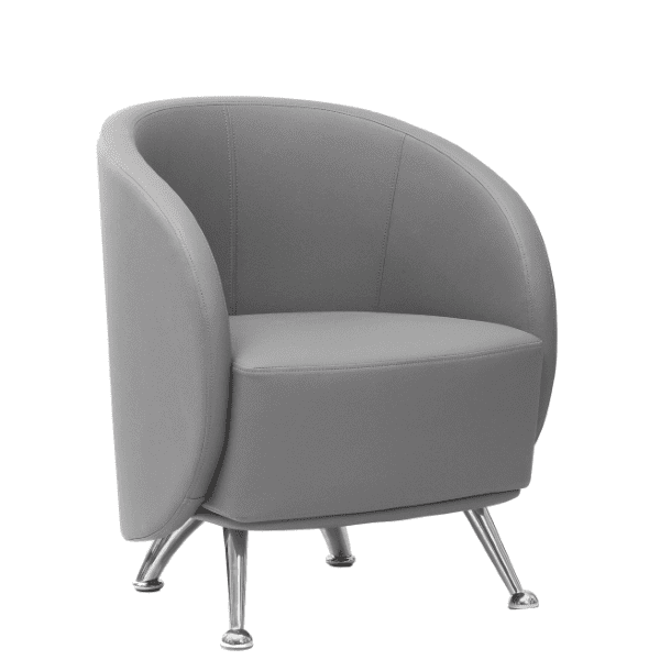 HU-953 Club Chair - Soft Gray Bonded Leather