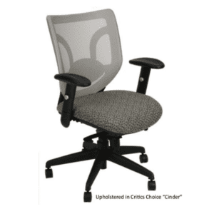 KB-8901 White Mesh Back Office Chair on Black Frame with Grade B Critics Choice Fabric - Available in 100+ Seat Upholstery Options