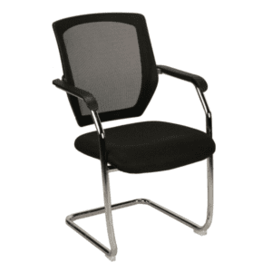 KB-8919 Chrome Cantilever Base Black Guest Chair