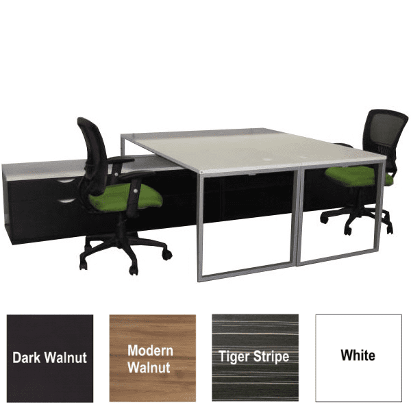 Lair Two Person Facing Workstations - 4 Top Surface Colors - 2 Open Bookcase Interior + 2 2-Drawer Box File Pedestals in 2 Colors