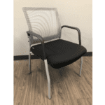 MI1500S Silver Frame Visitors Chair with Arms and White Mesh Back on Black Top Frame