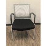 MI1500S Silver Frame Visitors Chair with Arms and White Mesh Back on Black Top Frame - Front