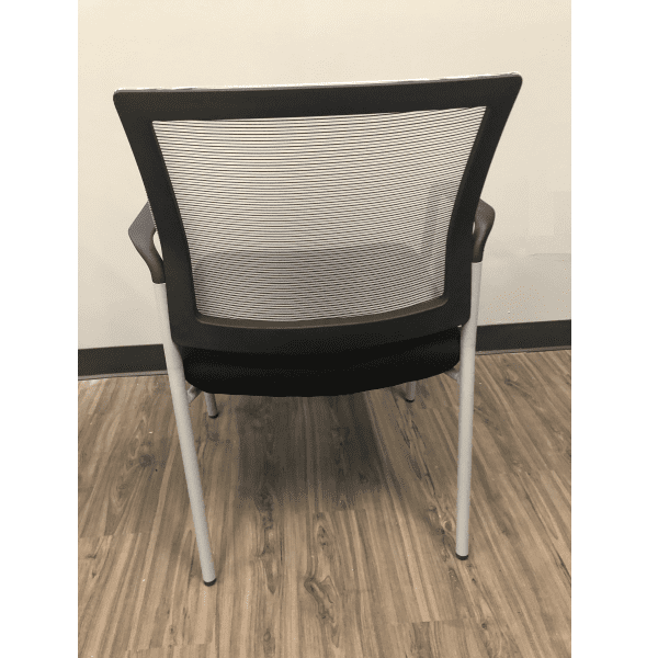 MI1500S Silver Frame Visitors Chair with Arms and White Mesh Back on Black Top Frame - Rear