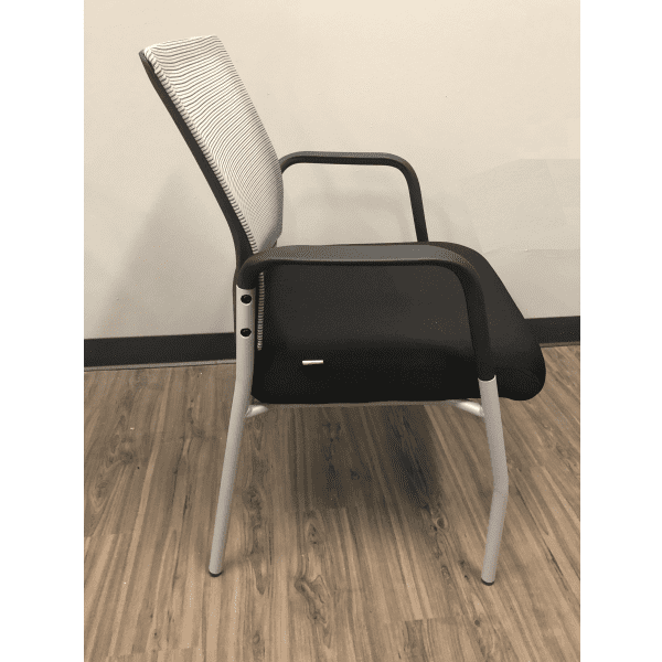 MI1500S Silver Frame Visitors Chair with Arms and White Mesh Back on Black Top Frame - Side